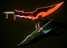 sung Jin-woo's second dagger-The Knight Slayer paired with his first- The Casaka's Poisoned Fang in the render Fantasy Dagger, Fantasy Sword, Fantasy Weapons, Fantasy Character Design, Character Design Inspiration, Character Art, Fantasy Creatures, Mythical Creatures, Rail Wars
