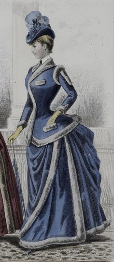1880s. Isn't this blue gown with white down or fur divine!                                                                                                                                                                                 More