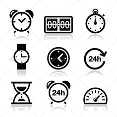 Time, Clock Vector Icons Set #GraphicRiver Different type of measuring time icons set isolated on white FEATURES: 100% Vector Shapes All groups have names All elements are easy to modify – you can change coulours, size Pack include version AI, EPS, JPG Created: 8August13 GraphicsFilesIncluded: JPGImage #VectorEPS #AIIllustrator Layered: Yes MinimumAdobeCSVersion: CS Tags: 24h #app #application #black #car #clock #day #electric #hour #hourglass #icon #measure #minute #pictogram #set #sign…