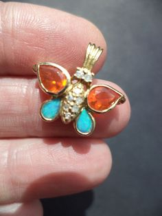 14K Y GOLD MEXICAN FIRE OPAL, BOULDER OPAL,& 8 DIAMOND BUTTERFLY Pendant/Charm #Charm