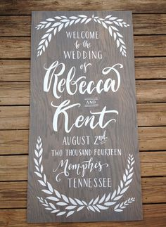 Wedding Welcome Sign - Greenery Illustration Hand Painted Personalized grey washed wood welcome sign 24x48 rustic elegant wood sign
