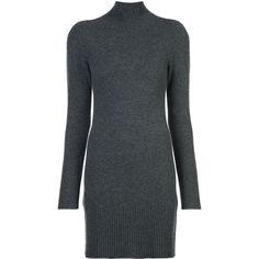 Frame Denim turtle neck sweater dress ($635) ❤ liked on Polyvore featuring dresses, grey, turtleneck dress, turtle neck sweater dress, gray turtleneck, grey dress and turtleneck tops