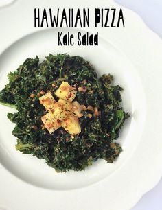 Hawaiian Pizza Kale Salad (raw, vegan)
