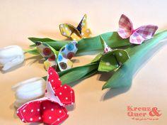 Deko-Objekte - 5er Set Schmetterlinge Origamie Frühling Deko - ein Designerstück von Kreuz_und_Quer bei DaWanda