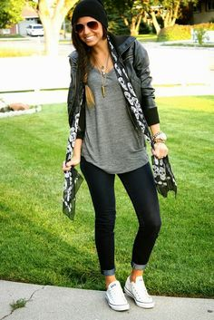 Fall Outfit: Black Beanie + Black Cropped Leather Jacket + Oversize/Slouchy Grey V-Neck T-Shirt/Tee + Skull Scarf + Dark Wash Skinnies Rolled-Up + White Chucks/Converse Shoes/Sneakers -*-What I love/adore-*-,Clothes Outfits With Converse, Casual Outfits, Cute Outfits, Fashion Outfits, Converse Shoes, Shoes Sneakers, Grey Sneakers, White Chucks Outfit, Scarf Outfits