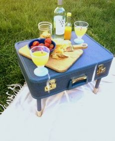 Vintage Picnic suitcase .. can't believe I didn't think of this!  9/2013