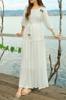 Like the lacing detail. flattering to the bust, adjustable, would be nice on back or at wrists. (Maxi Dresses For Women | Long And White Maxi Dresses Online | ZAFUL)