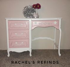 """$225.  Vintage Thomasville Desk/Vanity.  Delicately refined with white and ballet pink,  lined with silver guilding wax and lacquer finished for long lasting use.  Measures 30"""" high, 42"""" wide, 18"""" deep.  Can accept credit cards and can deliver for an additional fee."""