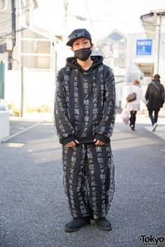 666Dievil666 wears Buccal Cone Kanji Hoodie & Pants in w/ Oz Abstract Accessories in Harajuku