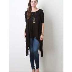 """NEW  """"Angel"""" High Low Asymmetric Top Picture perfect asymmetrical top. This amazing piece drapes so beautifully. Available in black and pink. This listing is for the BLACK. Brand new without tags. Bare Anthology Tops"""