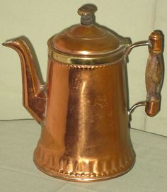Antique Copper Coffee Pot w Brass Wood Handle Finial Rochester Stamping Works | eBay