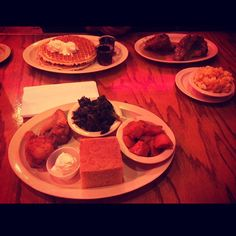 Last night's soul food adventure at Roscoes House of Chicken & Waffles, Long Beach CA