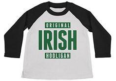 Shirts By Sarah Boy's Funny St. Patrick's Day Shirt Original Irish Hooligan 3/4 Sleeve Raglan Shirts