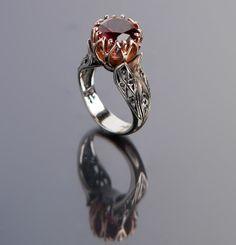 PASSIONATE DEVOTION:  Rhodolite Garnet, Black Diamonds,14k Rose Gold, Sterling Silver