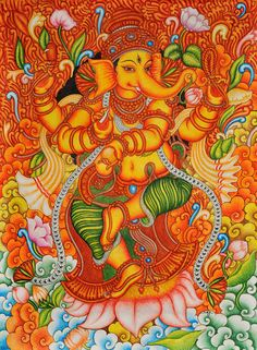 Kerala Ganesha Mural Painting by Shamilart Kerala Mural Painting, Madhubani Painting, Spiritual Paintings, Ganesha Painting, Indian Folk Art, Shadow Art, Hippie Art, Traditional Paintings, Indian Paintings