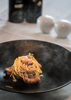 Spaguetti Rummo No. 3 de #Negrini al huevo con langostinos, sin más...
