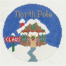 """Silver Needle NORTH POLE handpainted 4.25"""" Round Needlepoint Canvas Ornament"""