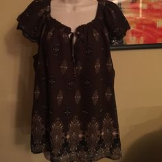 Lace trim flutter sleeve shirt Boho print flowy blouse. Colors are brown cream tan and black Apt. 9 Tops Blouses
