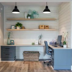 Shop our Building Materials Department to customize your UFP-Edge Barnwood White today at The Home Depot Basement Office, Office Nook, Home Office Space, Bedroom Office, Home Office Design, Home Office Decor, Office Ideas, Home Decor, Loft Office
