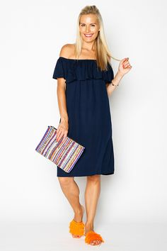 Our Fringe and Ruffle outfit is a cute and comfy look pairing a basic off shoulder dress with fun and bright accessories. Wear this casual style this weekend if your looking at add a splash of colour to your wardrobe! Color Splash, Casual Outfits, Outfit Ideas, How To Wear, Clothes, Dresses, Style, Fashion, Outfits