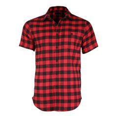 Men's Plaid Flannel Short Sleeve Side Zipper Shirt