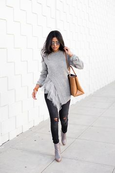 """Sweater, leather purse, and some Made sunnies, not to mention the best reuse of that old tutu your mom kept all those years because you """"Looked so cute in it."""" $124 - Hudson / Crystal / Silver Mirror"""