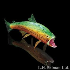 Soul Glass medium Brook Trout glass fish sculpture - Sculptures & Vessels - Michael Hopko - The Glass Gallery