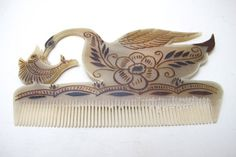 Handmade cow horn combs by Sr. Prudencio, Mexico - available on our Etsy, NomadCollections! https://www.etsy.com/listing/219180301/decorative-mexican-water-fowl-bird?