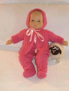 "PRETTY IN PINK Downloadable knitting pattern for any 15"" baby doll like American Girl Bitty Baby doll"