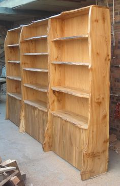 Image result for live edge bookcase