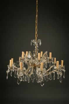Antique Italian crystal glass chandelier with 15 arms, circa 1950. #antique #chandelier #crystal #glass