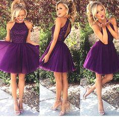 Mode populaire violet Mini sœurs robe perles Halter Tulle robe de soirée courte conception dos ouvert dessus du genou Tulle robes de bal