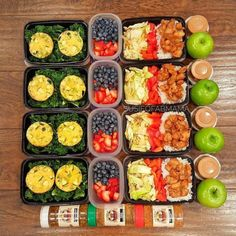 This prep is bursting with colors and is lined up pretty well!... This prep is bursting with colors and is lined up pretty well! Awesome spread by @susieqfabmama! ::::::::::::::::::::::::::::::::::::::::: I had a super busy weekend and didnt get my #mealprepsunday sesh in but I managed to get er done today! Ill post the recipe for the egg muffins soon. Heres this weeks line-up: Breakfast: Egg muffins/kale Morning snack: Strawberries/blueberries Lunch: Cabbage/red bell peppers/jasmine…