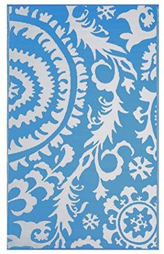Eco Chic Outdoor Rug, Recycled, Easy Clean, Reversible, UV resistant, Mildew Resistant, 5x8 Suzani Blue & White, Great for Patio, Picnic or RV Camping Mat