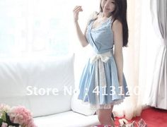 Free Shipping Women  Solid V-neck Jeans Lace  Edge Party Date Dress Sweet Style Pearl Decor