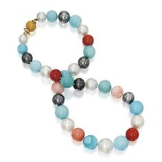 Pearl, coral and turquoise necklace, Bulgari