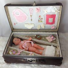 "Antique French 9"" Celluloid Convert Doll in Trunk Presentation Trousseau! | eBay"