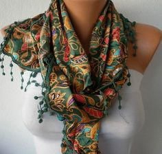 Women  Scarf   Cowl with Lace  Multicolor by fatwoman on Etsy,