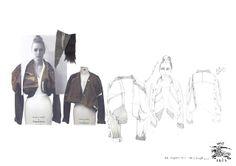 Fashion Portfolio - asymmetric jacket design development with fashion drawings & swatches; fashion sketchbook // Laura Helen Searle