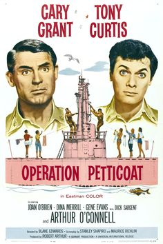 Original release American movie poster for Operation Petticoat (1959), starring Cary Grant and Tony Curtis.