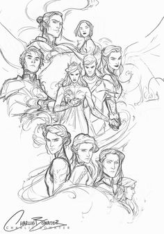 The first rough sketches for my ginormous montage piece I'm working on to celebrate ACOWAR! I finished the book earlier in the week and after exhausting all the tears in my body, I'm ready for some...