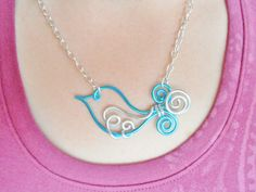 TWEET LITTLE BIRD - Wire Work Necklace - Choose your own Colors   by RefreshingDesigns  ONLY $18.00