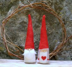 2 Felted Gnome figurines  Waldorf Inspired by MyJacobsLadder