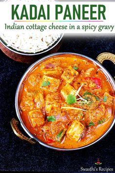 Kadai paneer is a popular Indian dish made with paneer bell peppers and kadai ma . - Kadai paneer is a popular Indian dish made with paneer bell peppers and kadai masala. Tasty Vegetarian Recipes, Curry Recipes, Beef Recipes, Cooking Recipes, Healthy Recipes, Vegetarian Curry, Veggie Recipes, Snack Recipes, Indian Paneer Recipes