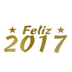 Feliz Ano Novo 2017 - Dourado / Inclinado / 10 Unid.