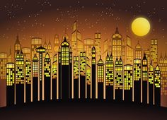 Fabulous Art Nouveau City Skyline Illustration with bright yellows. See sizes above in drop down menu. Photo paper and ink are of Giclee