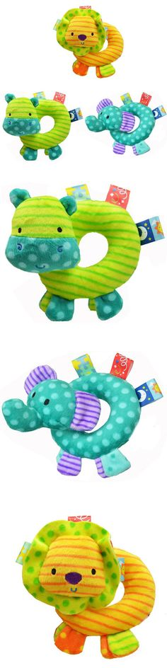 0M+ Soft Baby Toy Hand Mobile with Ring Bell Inside Cartoon Animal Rattle Toys for Newborns