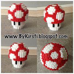 Vejledning 3D mario svamp i hama perler    How to make a 3D Mario brothers mushroom.
