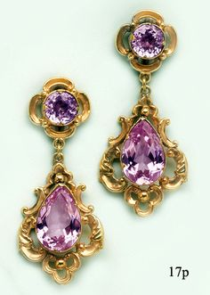 Pink Precious Topaz and Carved Gold Earrings at Nelson Rarities,Inc. Portland, Maine
