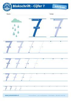 Cijfer 7 - Oefen met dit werkblad het leren schrijven van de cijfers in het blokschrift. Dit werkblad biedt het cijfer 7 aan. Oefen eerst het cijfer een aantal keer op de eerste, grote cijfers. Oefen daarna de cijfers steeds kleiner. Tip: pak een aantal gekleurde potloden en schrijf het cijfer elke keer met een andere kleur! Je kunt gewoon over het vorige lijntje heen schrijven. Zo oefen je het cijfer meerdere keren en onthoud je het beter. Je kunt het blad ook vaker printen. Download ook de… Disney Home, Einstein, Writing Numbers, Kids Learning, Homeschool, Teacher, Activities, Preschool Math Activities, Speech Language Therapy
